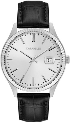 Caravelle by Bulova Men's Coin Edge Leather Strap Watch