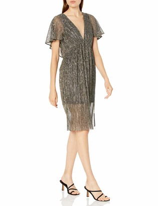 Halston Women's Flounce Short Sleeve V Neck Slim Metallic Dress