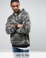 Asos TALL Oversized Hoodie In Washed Camo