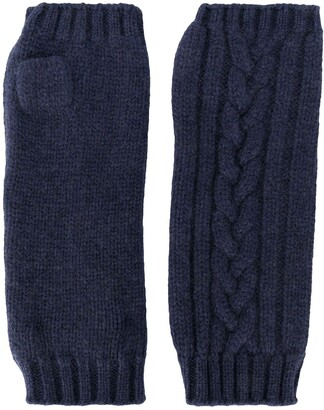 Pringle Fingerless Cable-Knit Gloves