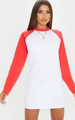 PrettyLittleThing Red Contrast Raglan Long Sleeve T Shirt Dress