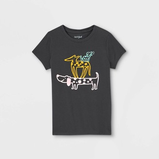 Cat & Jack Girls' Dogs Graphic Short Sleeve T-Shirt - Cat & JackTM Charcoal Gray