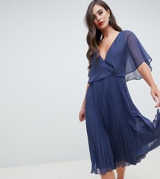 Asos Tall DESIGN Tall flutter sleeve midi dress with pleat skirt-Blue