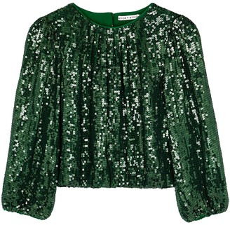 Alice + Olivia Avila green sequin top