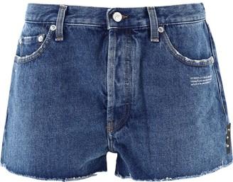 Off-White Frayed Hem Denim Shorts