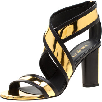 Balmain Metallic Gold And Black Leather Cross Strap Block Heel Sandals Size 36