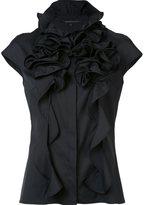 Walter Voulaz - ruffled neck detail blouse - women - Cotton/Polyamide/Spandex/Elastane - 40