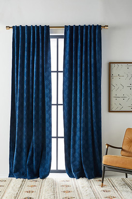 """Anthropologie Jacquard Chenille Curtain By in Blue Size 50"""" X 96"""""""