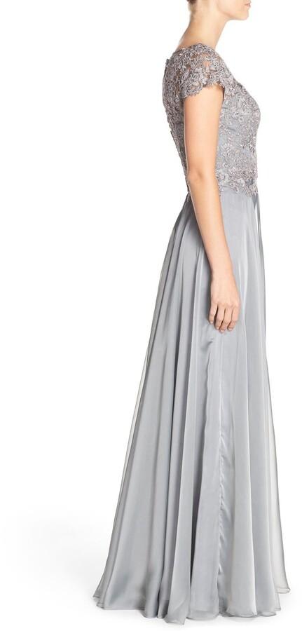 Thumbnail for your product : La Femme Lace & Satin A-Line Gown