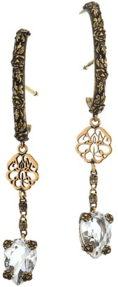 Alexander McQueen Signature Logo Crest Crystal Drop Earrings