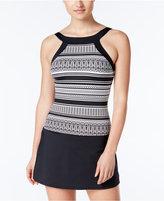 Jag Geometric-Print High-Neck Swim Dress