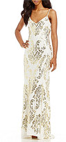 B. Darlin Sequin Scroll-Pattern Long Dress