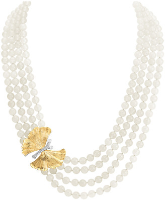Michael Aram Butterfly Gingko 18K & Silver 0.18 Ct. Tw. Diamond & Moonstone Necklace