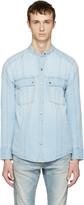 Balmain Blue Panelled Denim Shirt