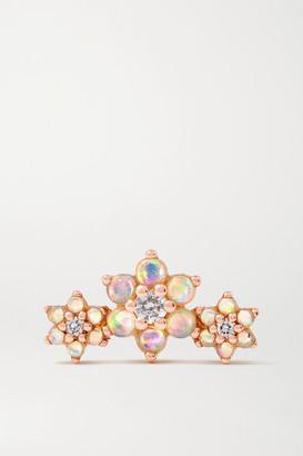 Maria Tash Flower Garland 18-karat Rose Gold, Opal And Diamond Earring