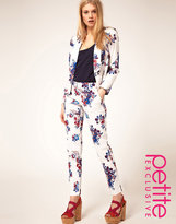 ASOS PETITE Exclusive Pants In White Floral Print