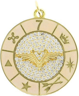 Foundrae 18kt yellow gold large blush wings Wheel medallion