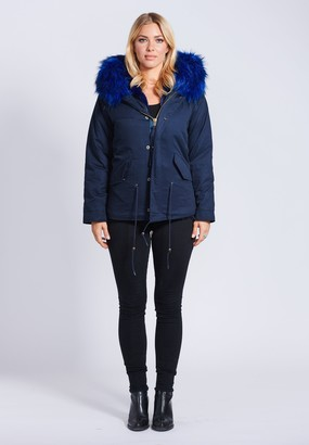 Popski London Fabulous Faux Navy Parka Jacket With Faux Fur Collar Navy