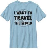 Fifth Sun Light Blue 'I Want to Travel the World' Crewneck Tee - Boys