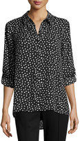 Neiman Marcus Dot-Printed Button-Up Blouse, Black/White