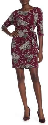 Robbie Bee Floral Waist Tie Sheath Dress