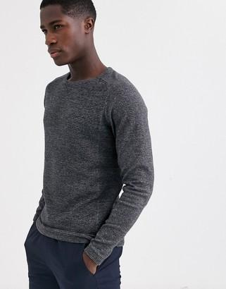 Selected crew neck textured jumper in grey