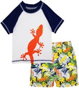 iXtreme Little Boys Swimwear Lizard Rashguard Top Hibiscus Board Swim Trunk Set