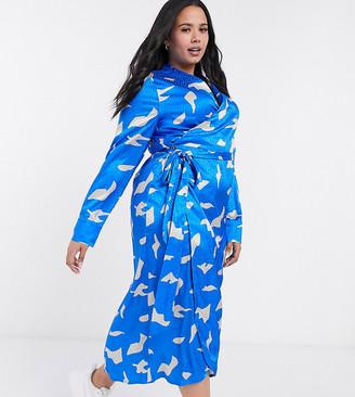 Never Fully Dressed Plus long sleeve wrap midi dress in cobalt bird print