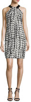 Carmen Marc Valvo Sleeveless Printed Ponte Sheath Dress, Ivory/Black