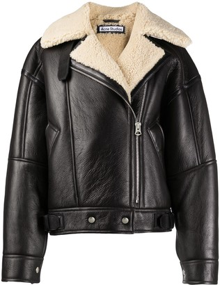 Acne Studios Calf Leather And Shearling Flight Jacket