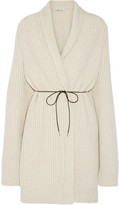 Helmut Lang Oversized belted wool-blend cardigan