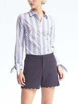 Banana Republic Riley-Fit Bow-Cuff Stripe Shirt