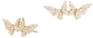 Lana Girl 14K Yellow Gold & Diamond Double Butterfly Stud Earrings