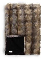 Helene Berman Faux Fur Blue Wolf Throw