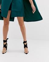 Public Desire Jordy black tie up block heeled sandals