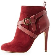 Charlotte Russe Buckled Faux Suede Dress Booties