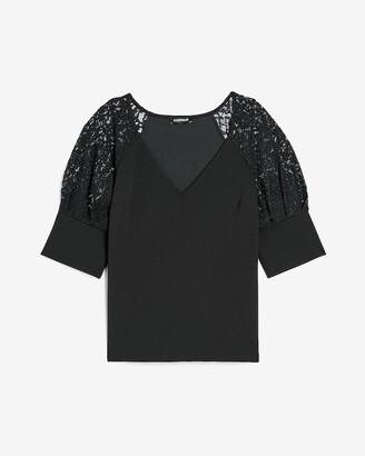 Express Lace Shoulder V-Neck Top