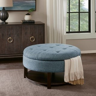 Madison Home USA Javier Denim/ Morocco Round Storage Ottoman