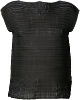 Issey Miyake distressed woven top - women - Polyester - 2