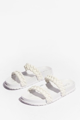 Nasty Gal Womens World At Your Feet Faux Leather Braided Sandals - White