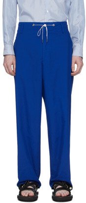 Fumito Ganryu Blue Silk Broadcloth Trousers