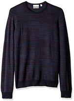 Calvin Klein Men's Merino Space Dye Stripe Crew Neck Sweater