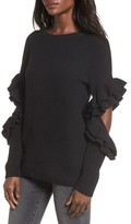 BP Women's Elbow Cutout Ruffle Sweater
