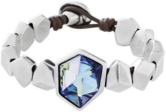 Uno de 50 Iceberg Bezel Set Swarovski Element Accented Geo Bead Leather Bracelet