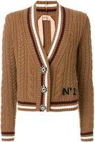 NÂo21 cable knit V-neck cardigan