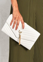 Missy Empire Reina White Ribbed Tassel Clutch