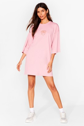 Nasty Gal Womens Mother Earth Graphic Tee Dress - Pink - S