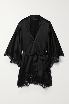 Coco de Mer Fuji Lace-trimmed Satin Robe - Black