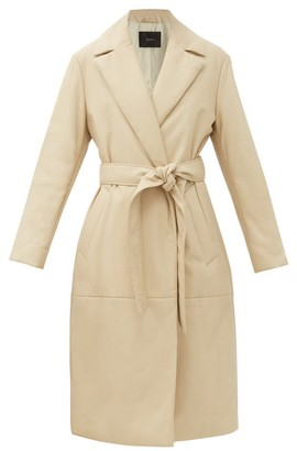 Joseph Cola Belted Padded-leather Coat - Cream