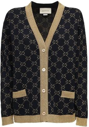 Gucci Gg Supreme Lurex & Cotton Knit Cardigan